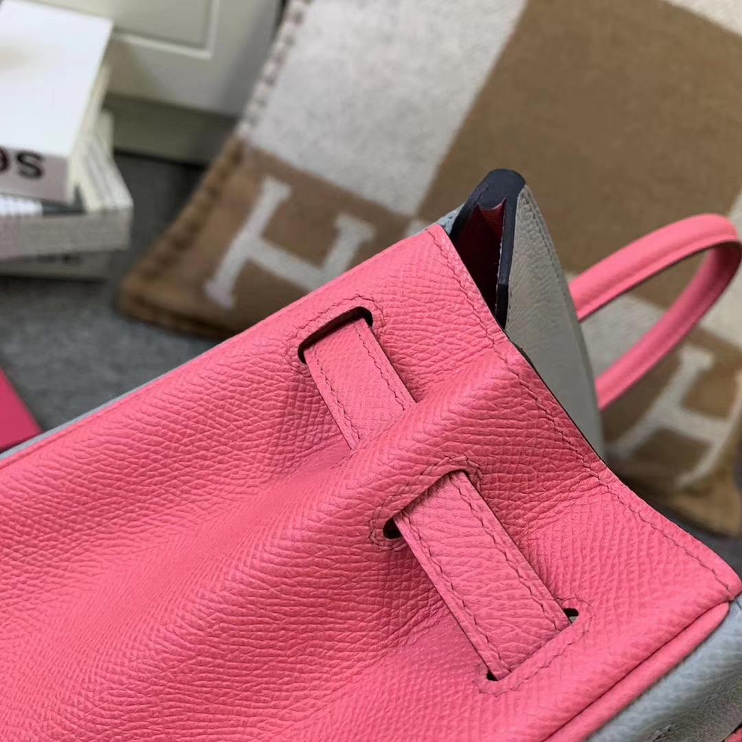 Hermès(爱马仕)8U冰川蓝拼8W新唇膏粉 原厂御用顶级Epsom 皮 Birkin 25 银扣