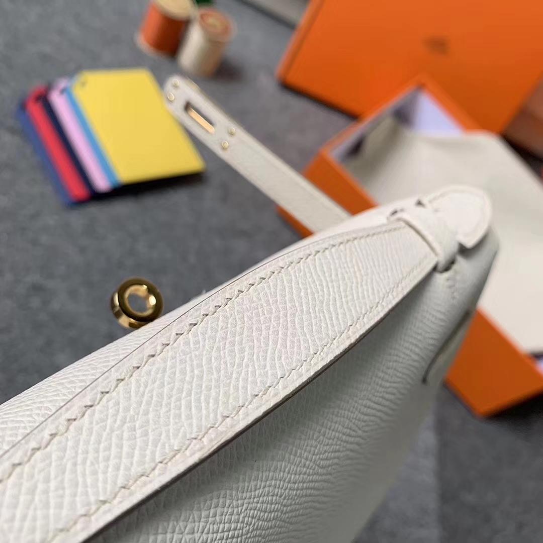 Hermès(爱马仕)奶昔白 原厂御用顶级Epsom 皮 Mini Kelly 金扣 现货