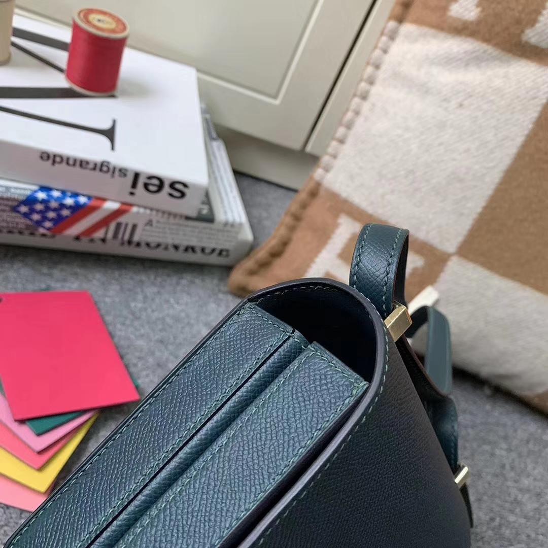 Hermès(爱马仕)马赛克包包 柏树绿 原厂御用顶级Epsom 皮 浅金扣 现货