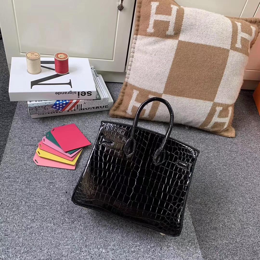 Hermès(爱马仕)Birkin 铂金包 黑色 原厂御用顶级亮面鳄鱼皮 金扣 25cm