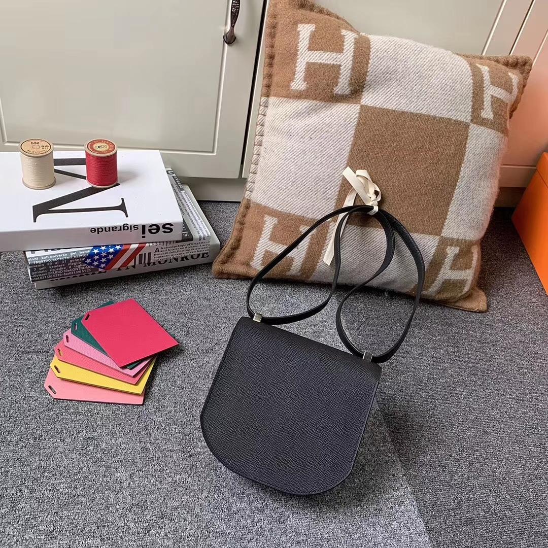 Hermès(爱马仕)马赛克包包 黑色 原厂御用顶级Epsom 皮 浅金扣 现货