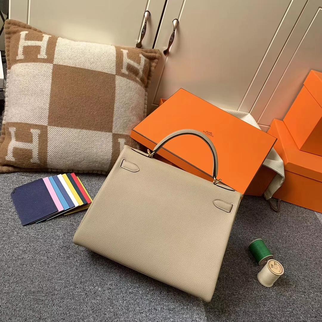 Hermès(爱马仕)S2 风衣灰 原厂御用顶级小牛皮 Kelly 32 金扣