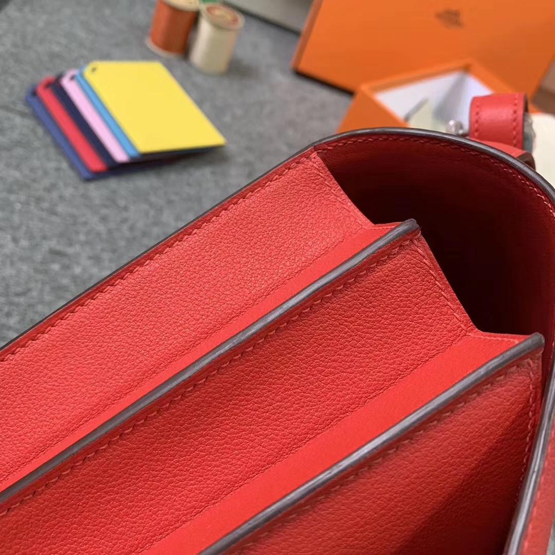 Hermès(爱马仕)心红色 原厂御用顶级Ever color 皮 2002-20 银扣 现货