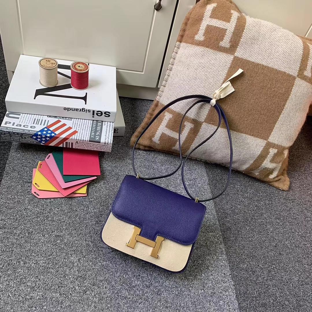 Hermès(爱马仕)墨水蓝 原厂御用顶级Epsom 皮 Constance 19 金扣 现货