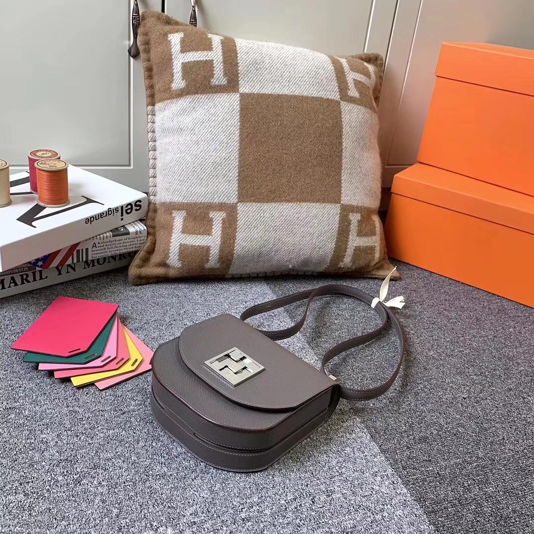 Hermès(爱马仕)8F锡器灰 原厂御用顶级Epsom 皮 马赛克 银扣