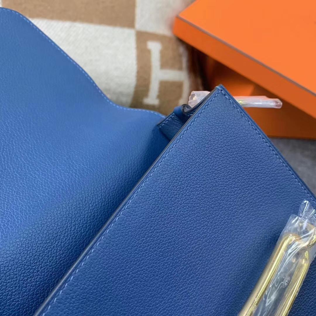 Hermès(爱马仕)S4 深遂蓝 原厂御用顶级Ever Color 皮 Roulis 金扣 现货