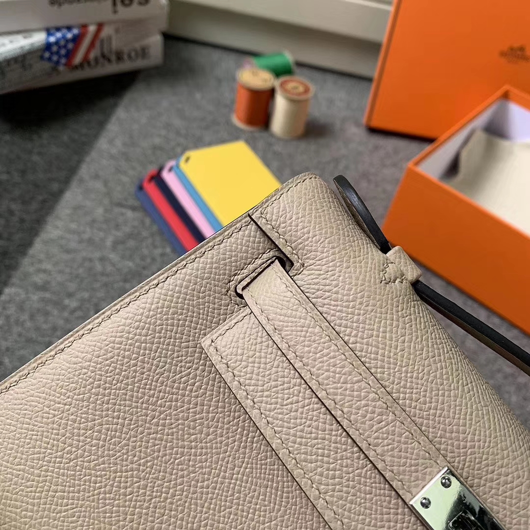 Hermès(爱马仕)S2 风衣灰 原厂御用顶级Epsom 皮 Mini Kelly 银扣 现货