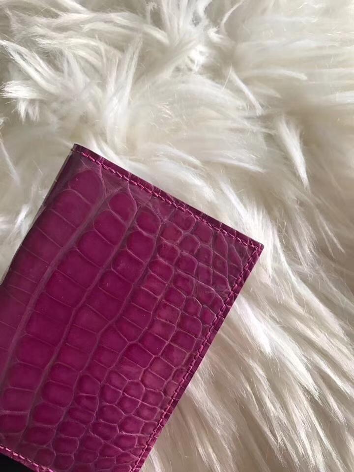 Hermès(爱马仕)卡包 天方夜谭紫 手拿包 鳄鱼皮