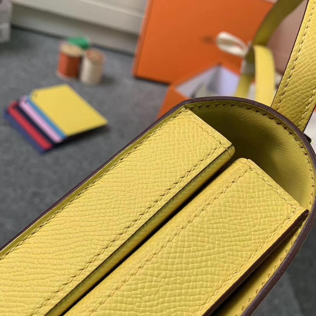 Hermès(爱马仕)9O那不勒斯黄 原厂御用顶级Epsom 皮 马赛克 金扣 现货