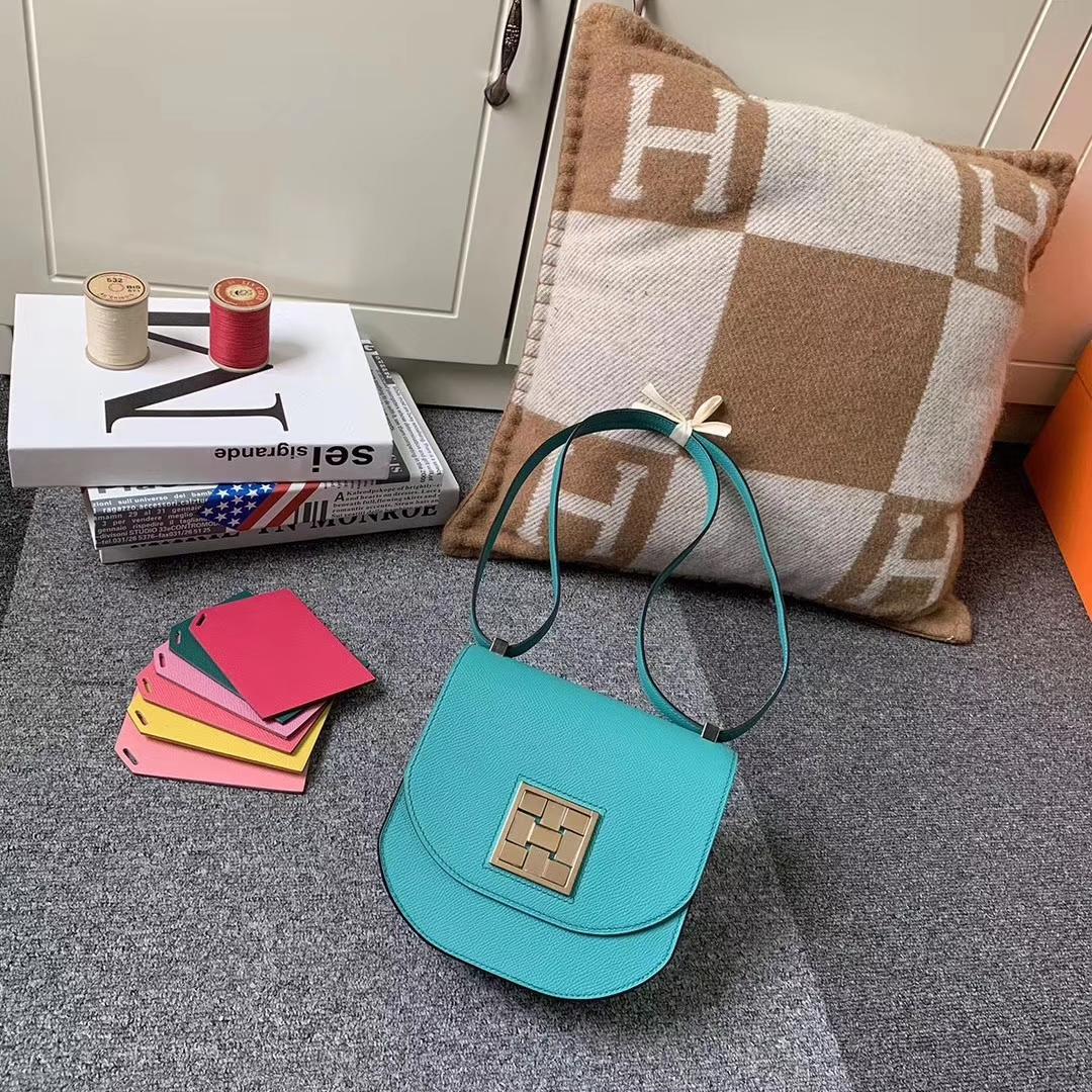 Hermès(爱马仕)马赛克包包 U1罗威纳绿 原厂御用顶级Epsom 皮 浅金扣 现货