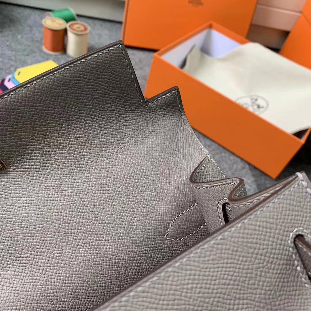 Hermès(爱马仕)M8 沥青灰 原厂御用顶级Epsom 皮 Kelly 28 外缝 玫瑰金扣