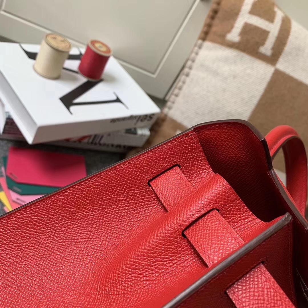 Hermès(爱马仕)Q5 中国红 糖果红 原厂御用顶级Epsom 皮 Kelly 28 外缝 金扣