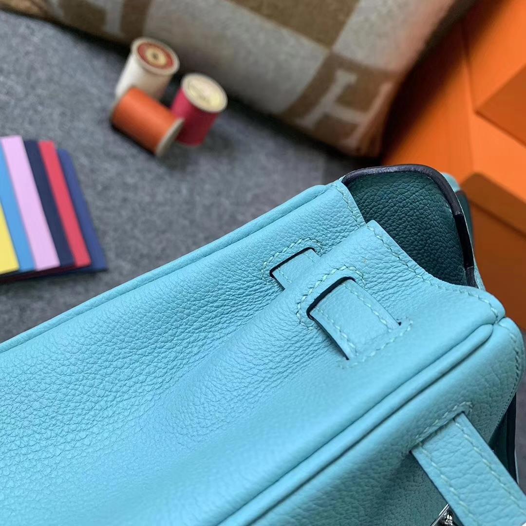 Hermès(爱马仕)3P马卡龙蓝 原厂御用顶级小牛皮 Kelly 25 银扣
