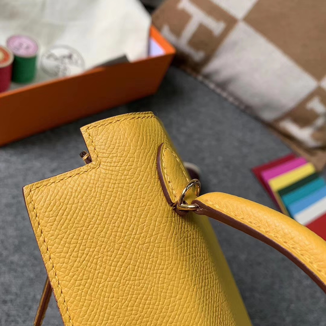 Hermès(爱马仕)9D琥珀黄 原厂御用顶级 Epsom 皮 Mini Kelly 二代 金扣 现货