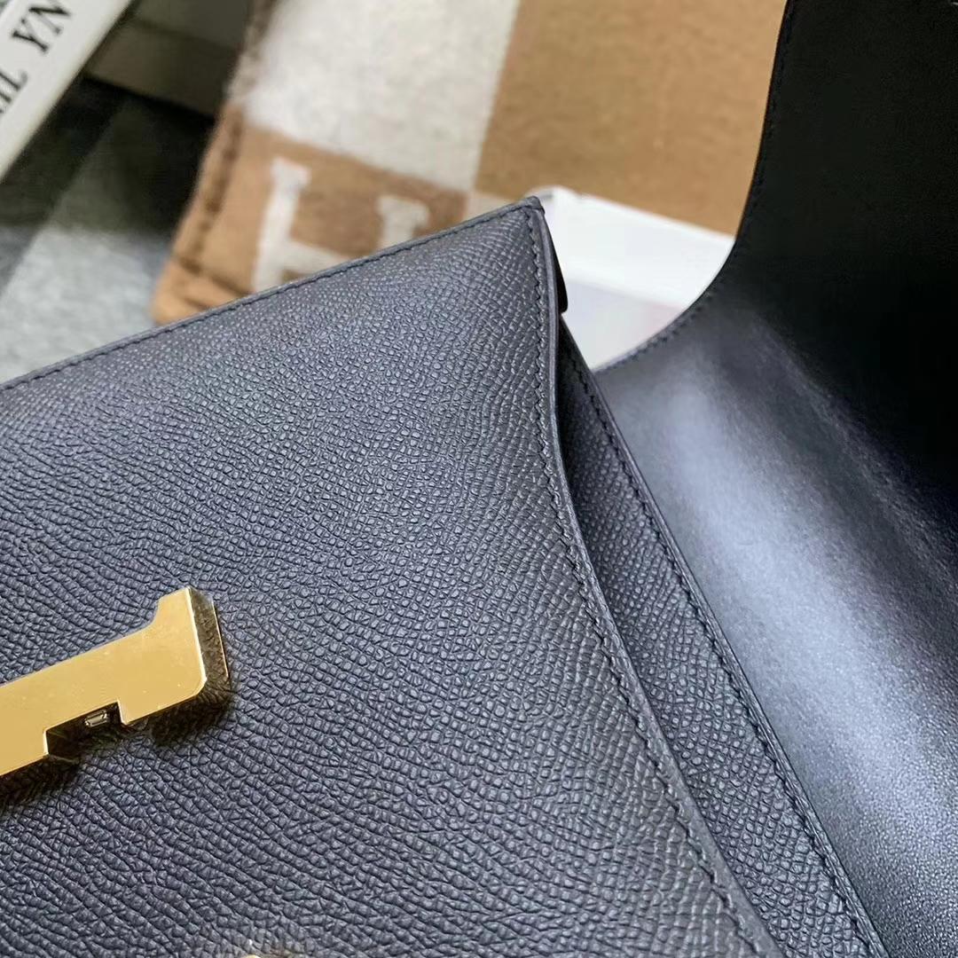 Hermès(爱马仕)CK89 黑色 原厂御用顶级Epsom 皮 Constance 19 金扣 现货