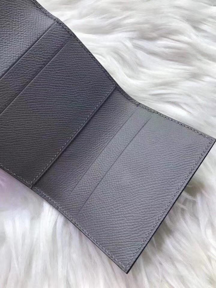 Hermès(爱马仕)新款卡包 clic mini 原装等级进口epsom皮 海鸥灰 金银现货