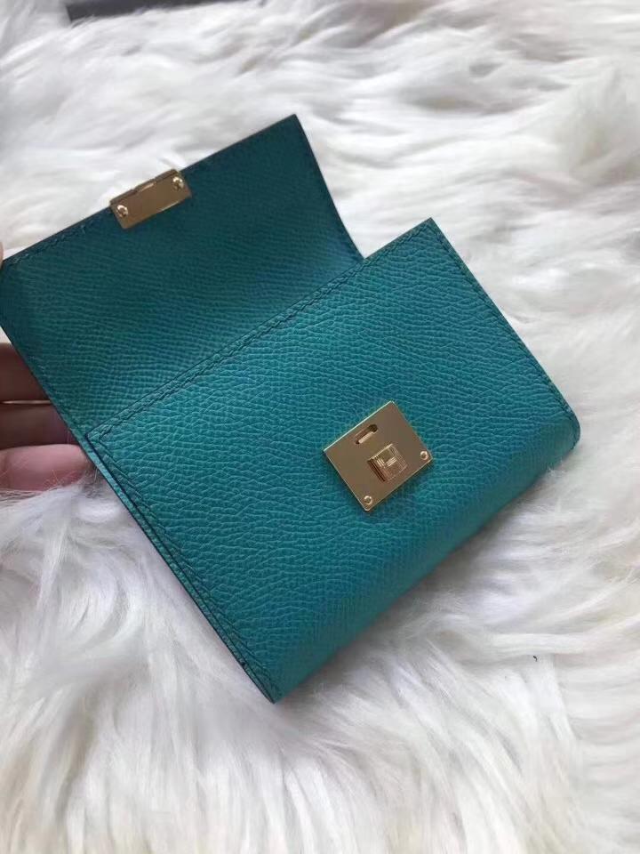 Hermès(爱马仕)新款卡包 clic mini 原装等级进口epsom皮 孔雀蓝 金银现货