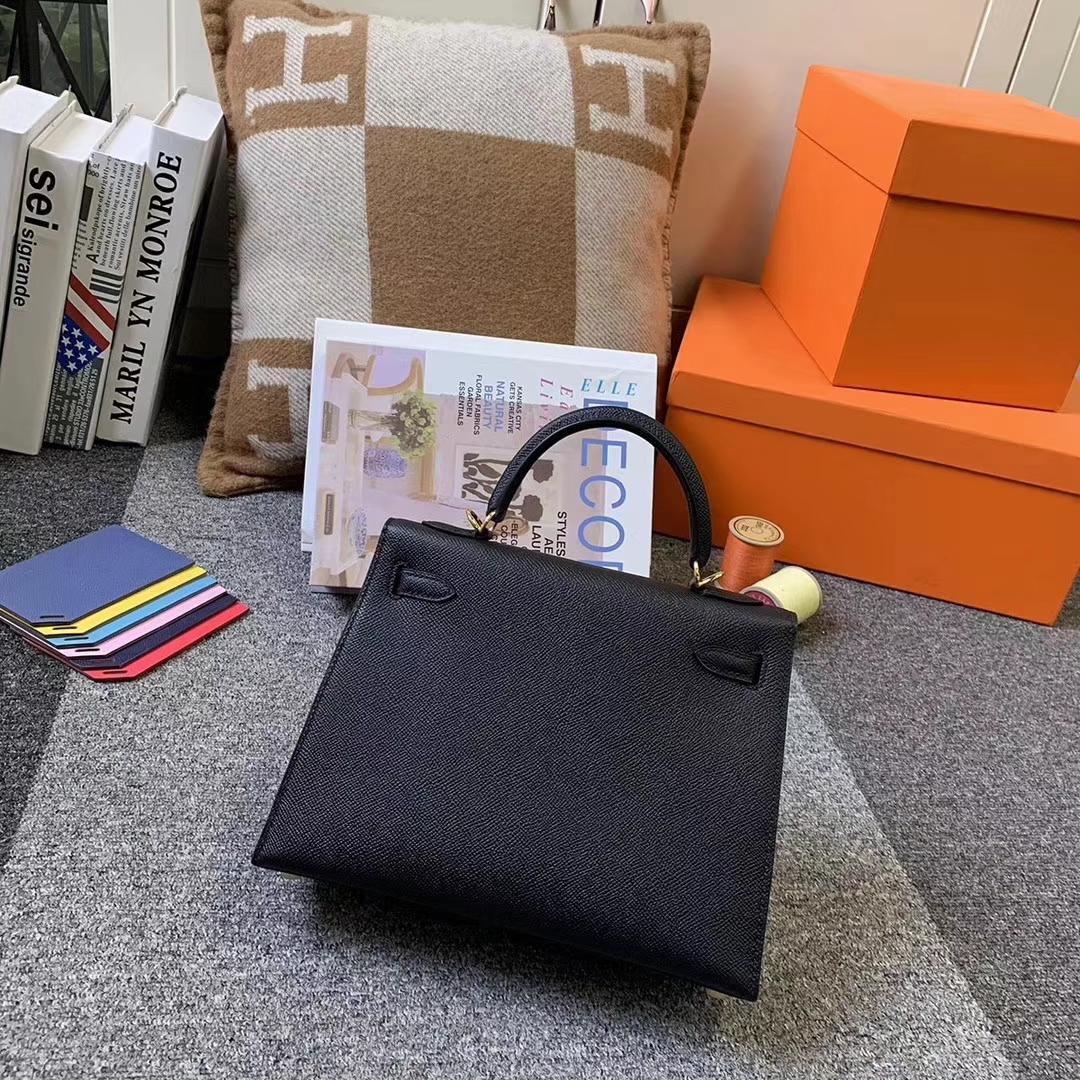 Hermès(爱马仕)CK89 黑色 原厂御用顶级Epsom皮 Kelly 25 外缝 金扣 现货