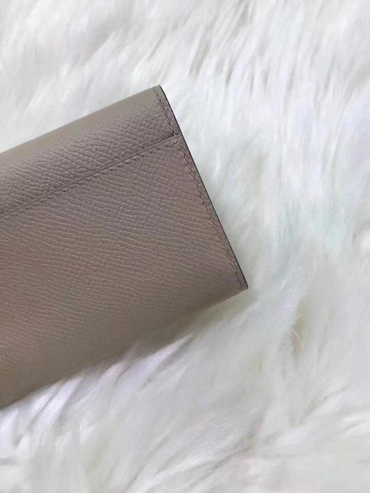 Hermès(爱马仕)新款卡包 clic mini 原装等级进口epsom皮 风衣灰 金银现货