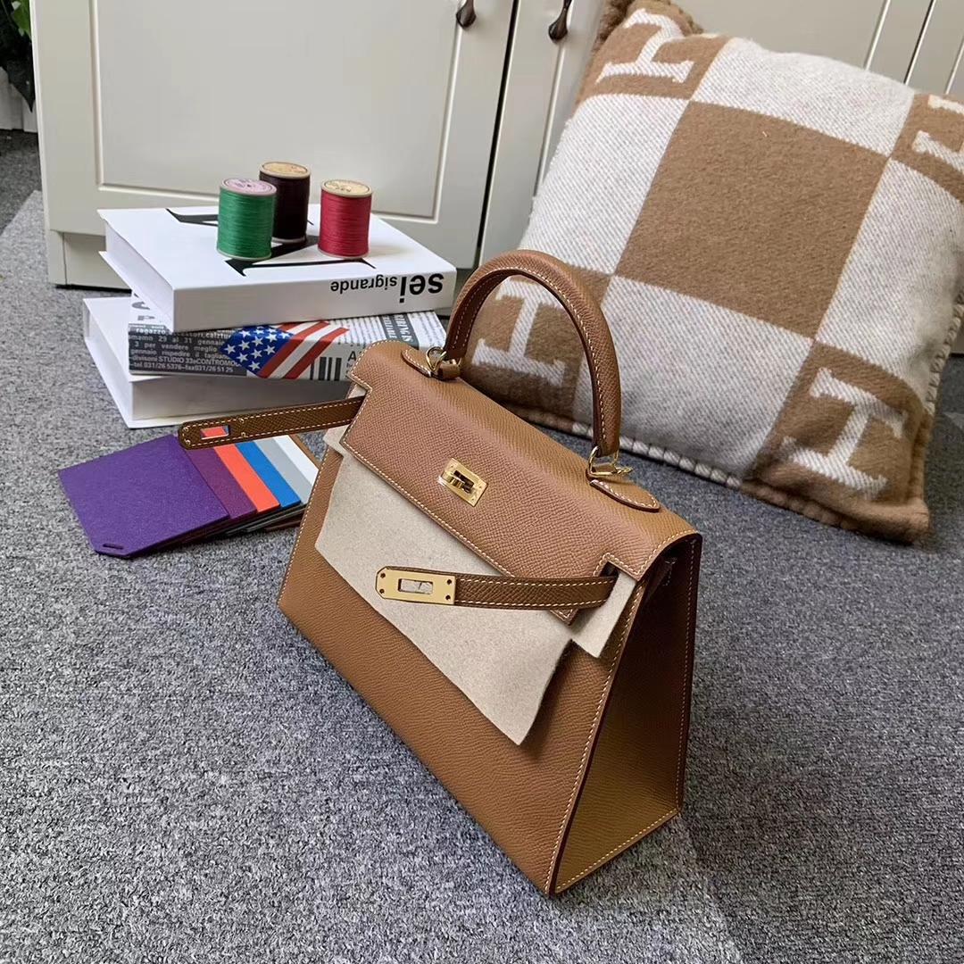 Hermès(爱马仕)C37 金棕色 原厂御用顶级Epsom皮 Kelly 25 外缝 金扣 现货