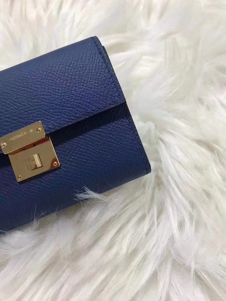 Hermès(爱马仕)新款卡包 clic mini 原装等级进口epsom皮 宝石蓝 金银现货