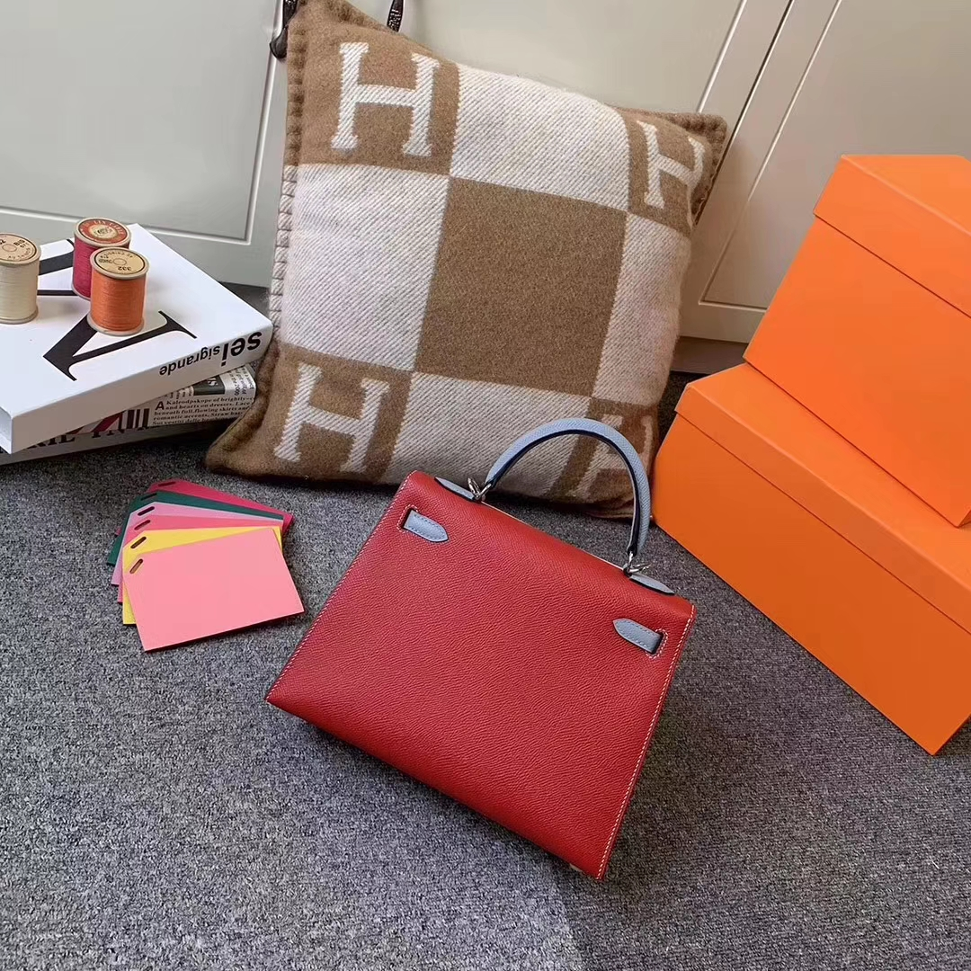 Hermès(爱马仕)Q5中国红拼J7亚麻蓝 原厂御用顶级Epsom 皮 Kelly 25 外缝 银扣