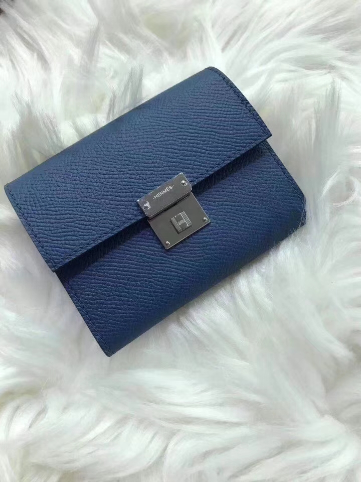 Hermès(爱马仕)新款卡包 clic mini 原装等级进口epsom皮 玛瑙蓝 金银现货