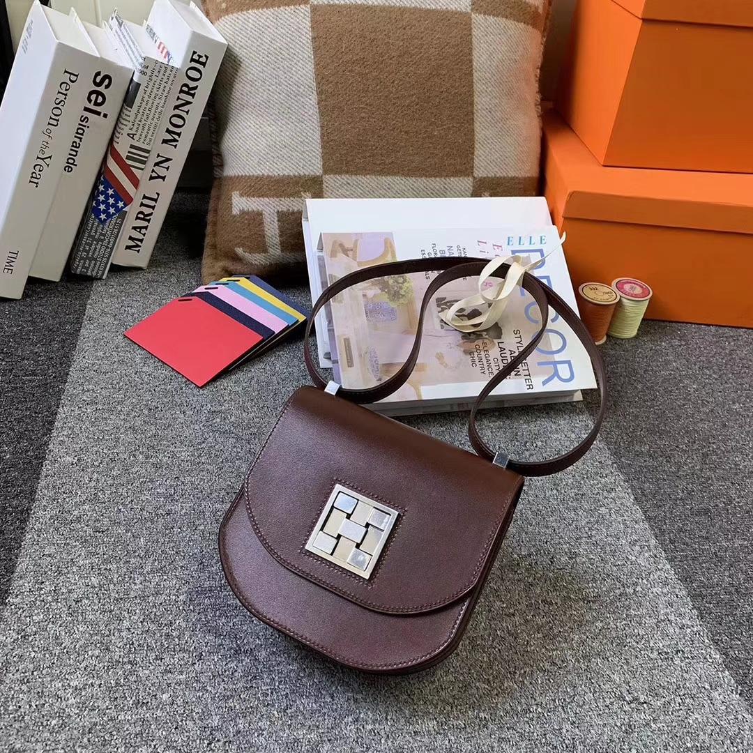 Hermès(爱马仕)爱马仕红 原厂御用顶级Box 皮 马赛克 银扣 现货