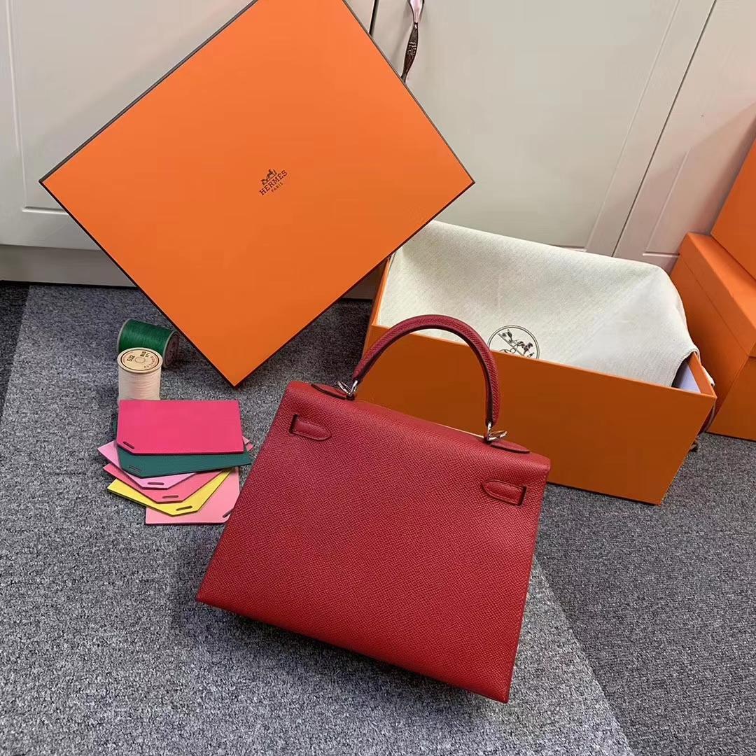 Hermès(爱马仕)Q5 中国红 原厂御用顶级Epsom 皮 Kelly 25 外缝 银扣