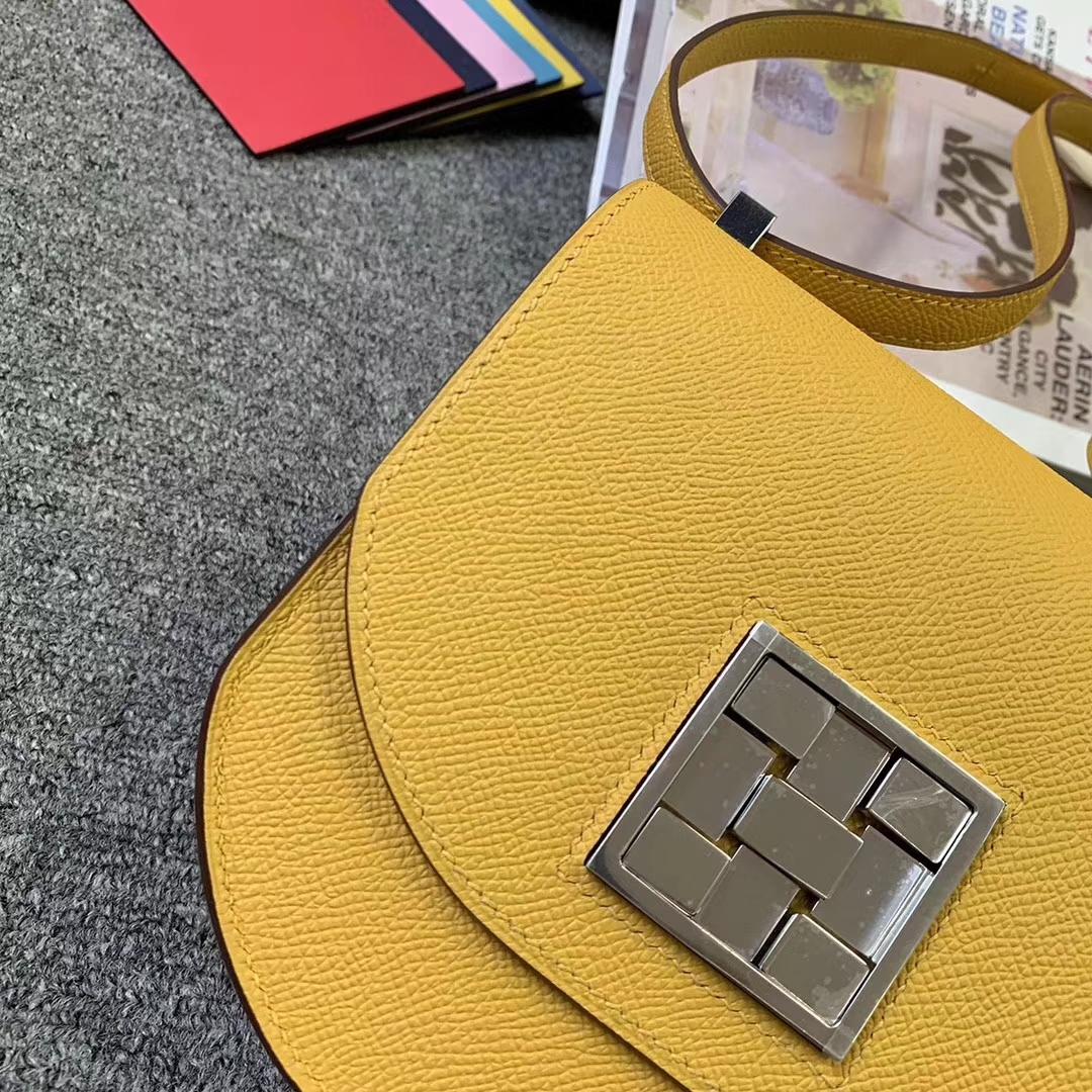 Hermès(爱马仕)9D琥珀黄 原厂御用顶级Epsom 皮 马赛克 银扣 现货