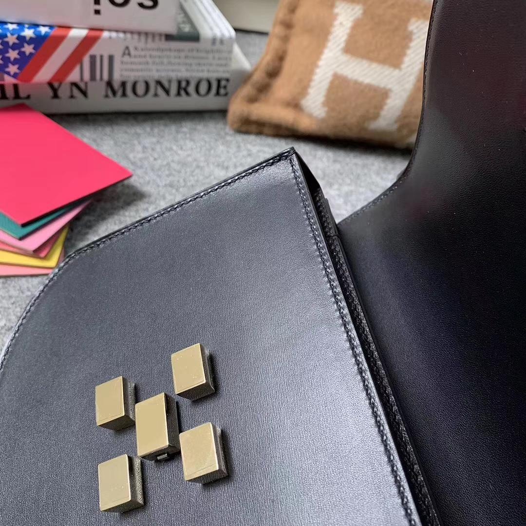 Hermès(爱马仕)CK89 黑色 原厂御用顶级Box 皮 马赛克 银扣 现货
