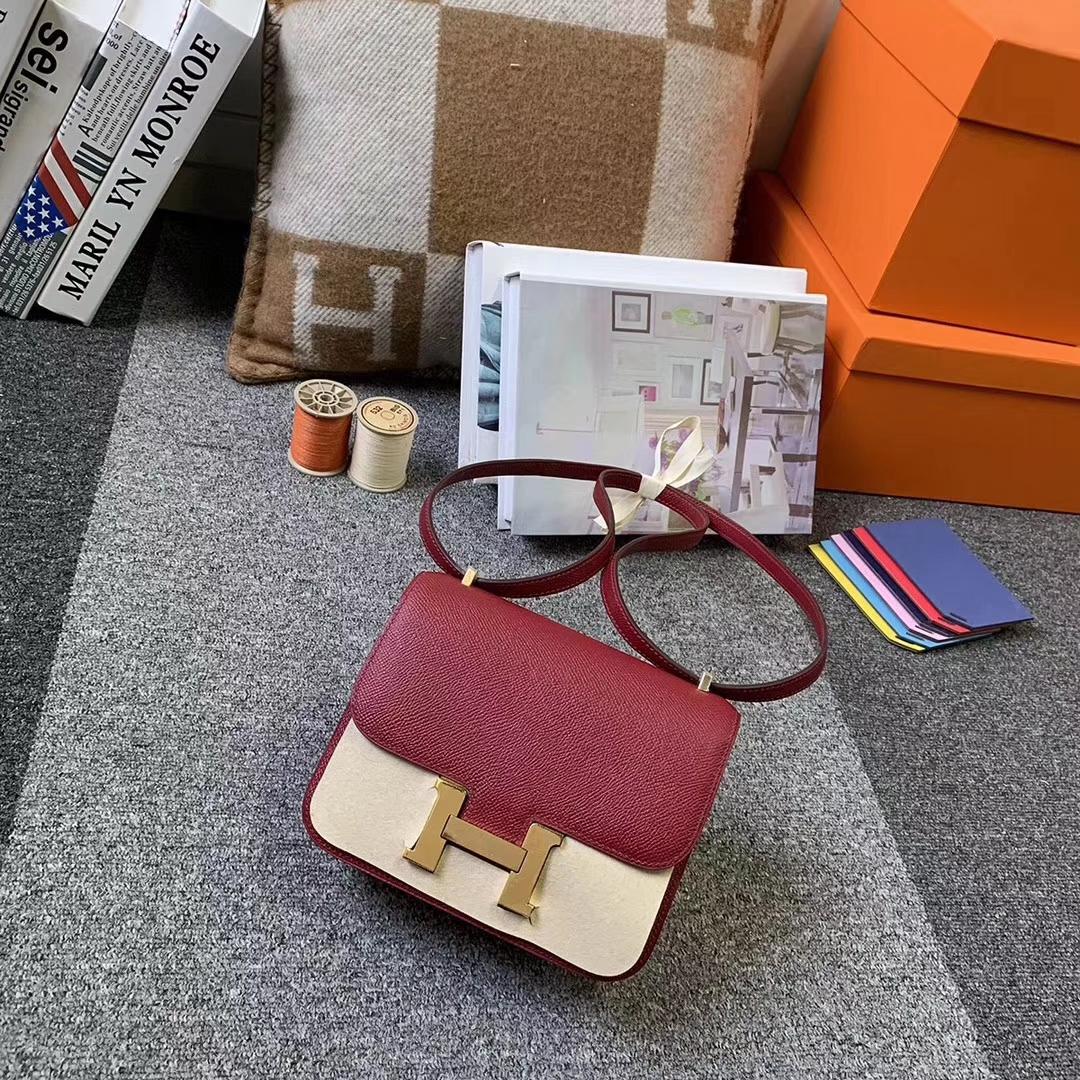 Hermès(爱马仕)K1 石榴红 原厂御用顶级Epsom 皮 Constance 19 金扣