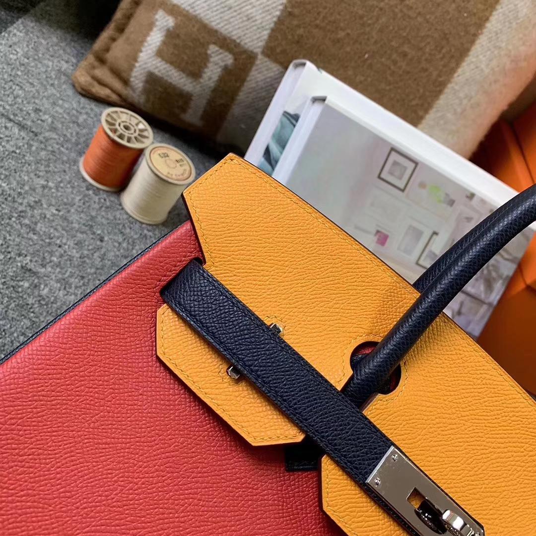Hermès(爱马仕)心红拼太阳金黄拼午夜蓝 原厂御用顶级Epsom 皮 Birkin 30 银扣