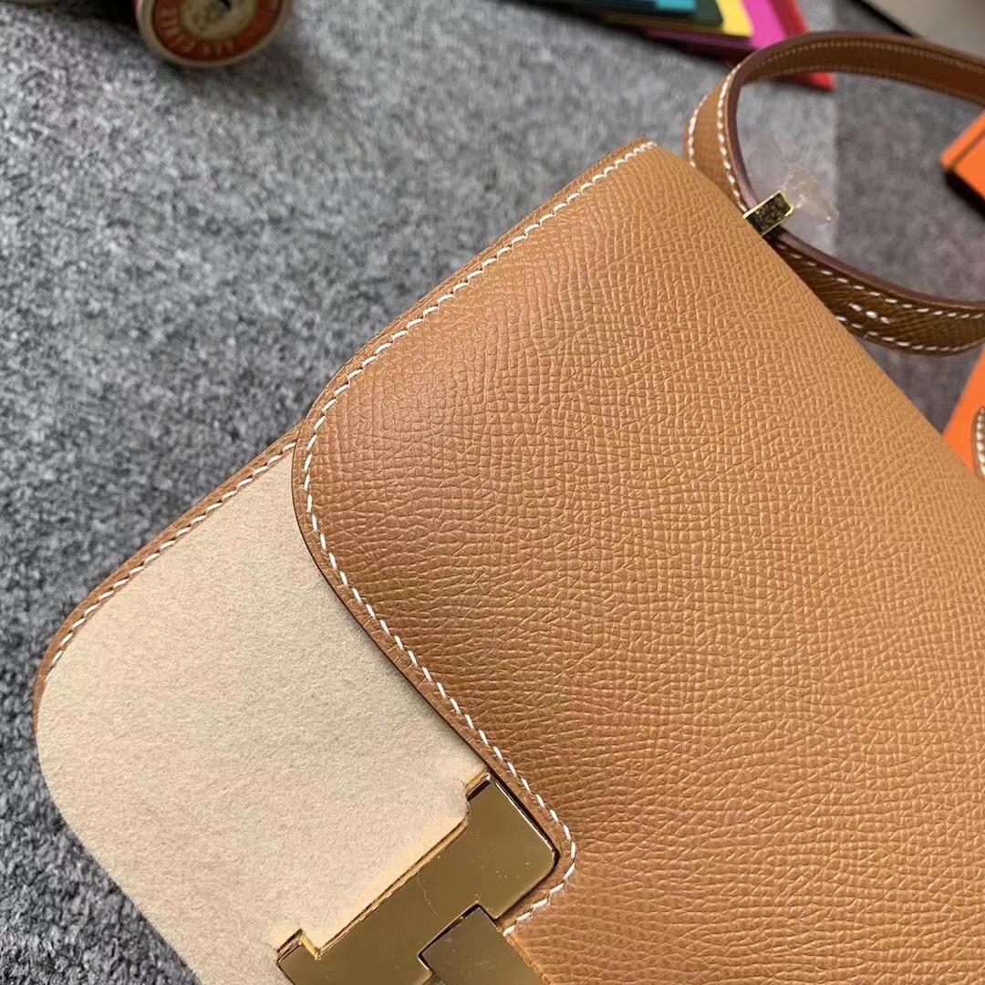 Hermès(爱马仕)C37浅咖啡 原厂御用顶级Epsom皮 Constance 19 金扣 现货