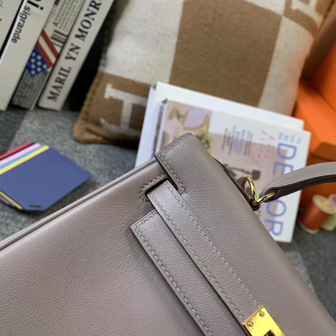 Hermès(爱马仕)M8 沥青灰 原厂御用顶级Swift皮 Kelly 25 内缝 金扣