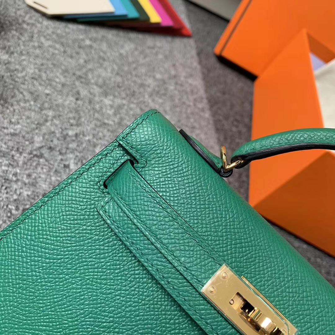 Hermès(爱马仕)U4 丝绒绿 原厂御用顶级Epsom 皮 Mini Kelly 二代 金扣