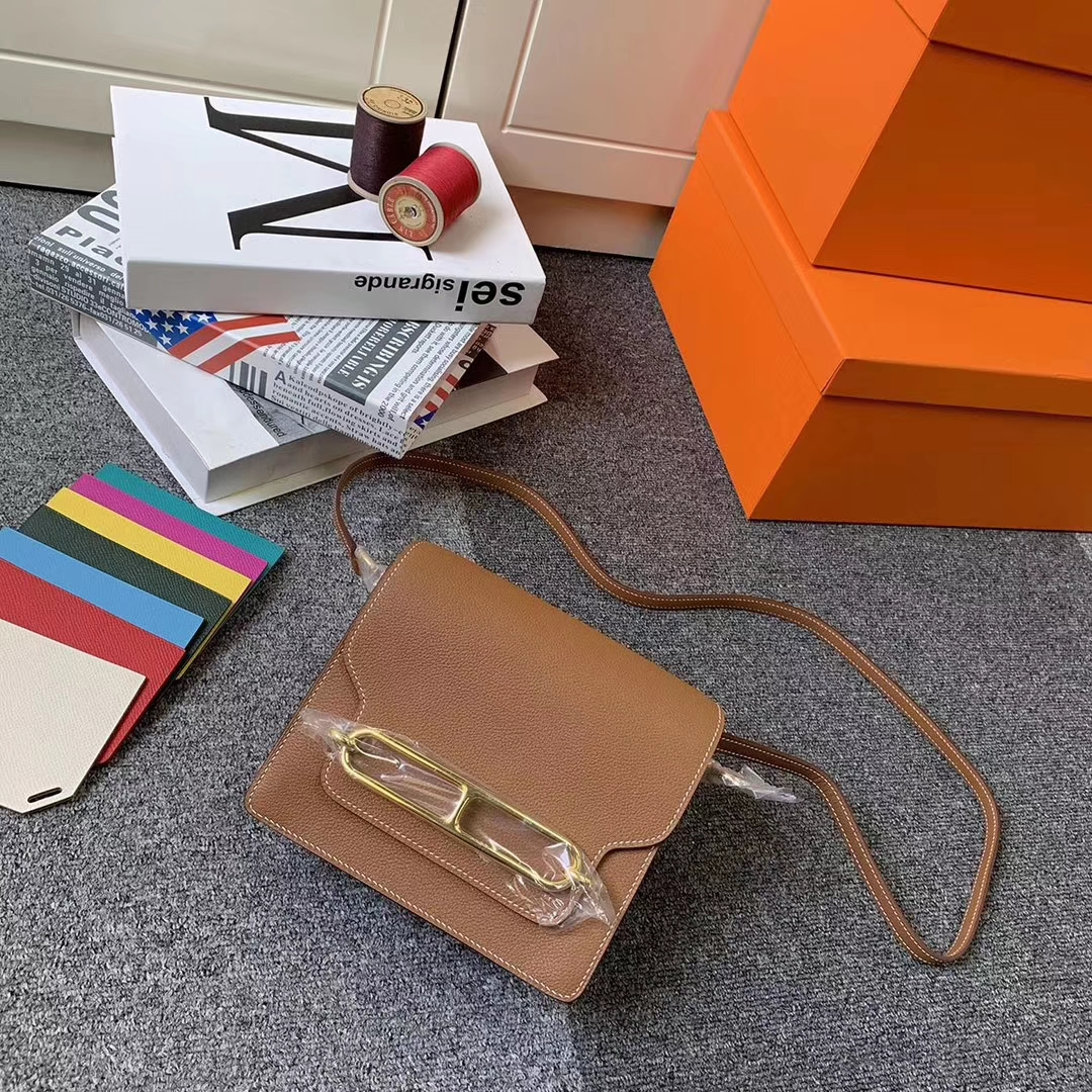 Hermès(爱马仕)C37 金棕色 原厂御用顶级Ever Color皮  Roulis 19 金扣 现货
