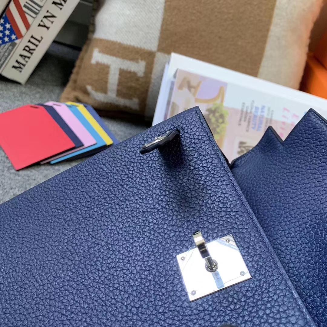 Hermès(爱马仕)7K宝石蓝 原厂御用顶级TC 皮 Kelly ado 银扣