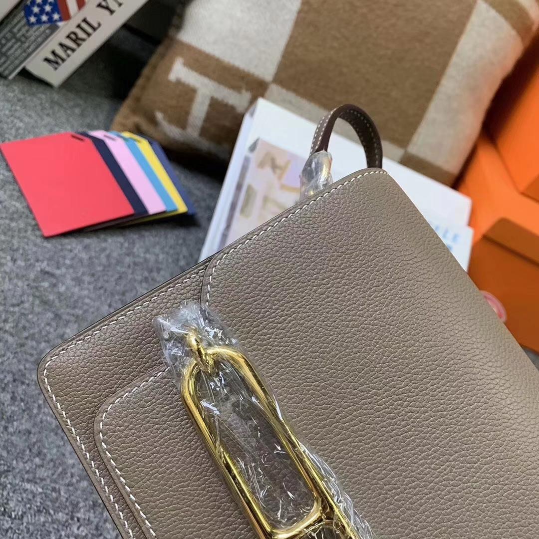 Hermès(爱马仕)CK18 大象灰 原厂御用顶级Ever color 皮 Roulis 19 金扣 现货