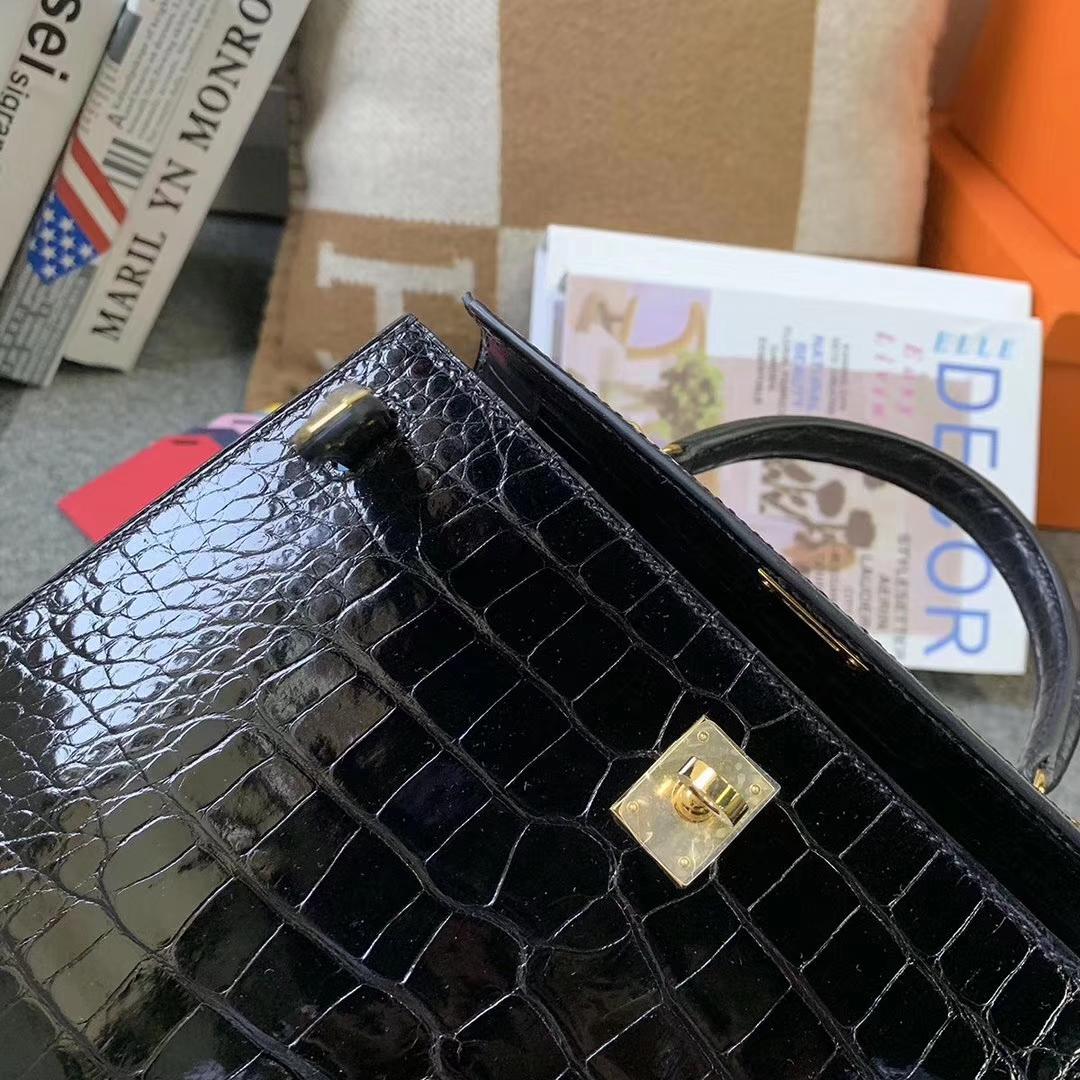 Hermès(爱马仕)CK89 黑色 原厂御用顶级亮面鳄鱼皮 Kelly 25 外缝 金扣 现货