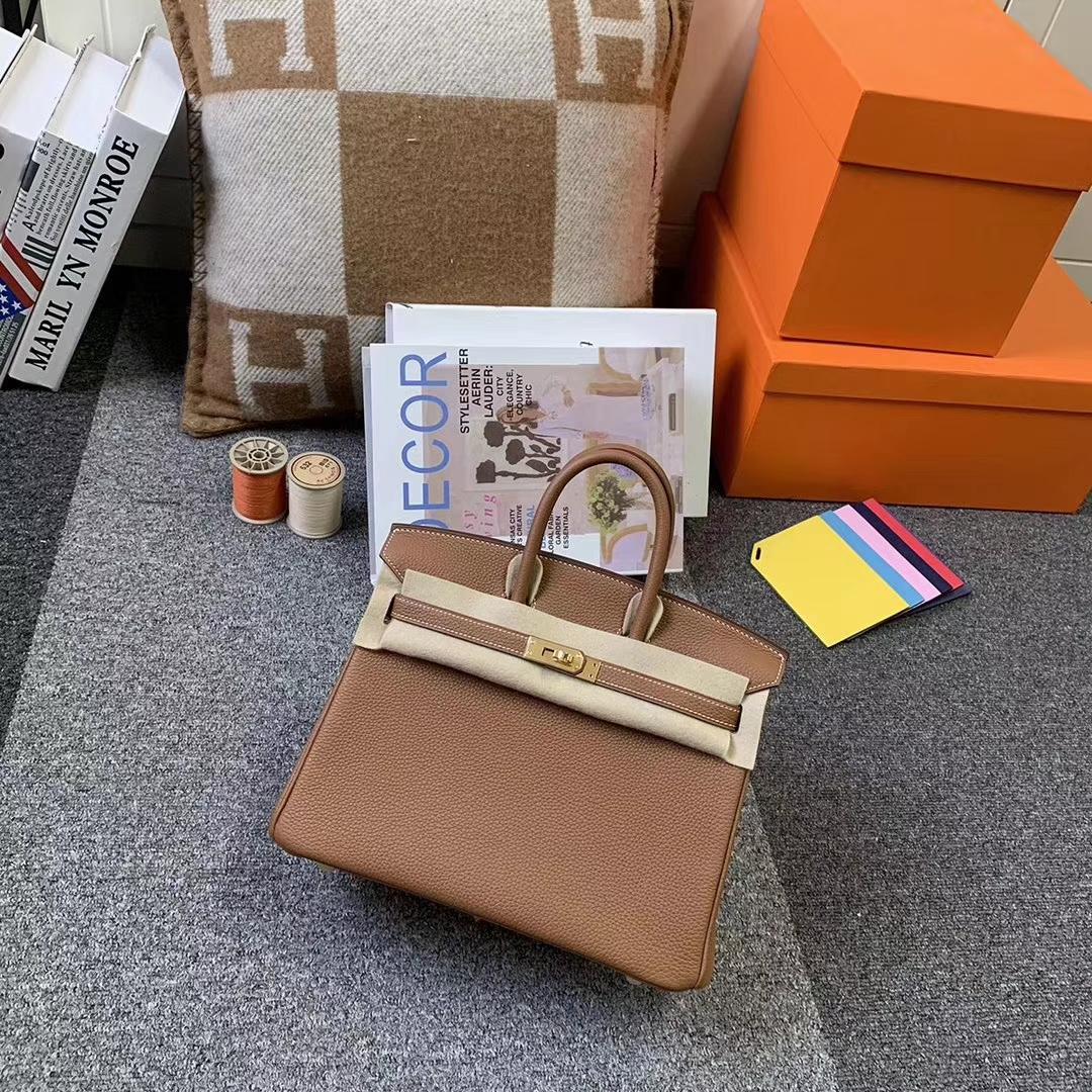 Hermès(爱马仕)C37 金棕色 原厂御用顶级小牛皮 Birkin 25 金扣 现货