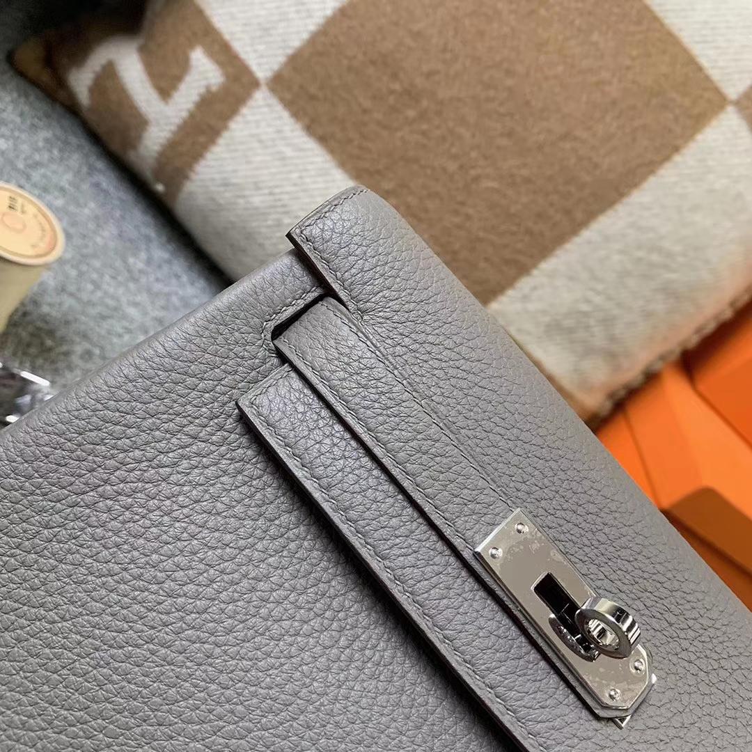 Hermès(爱马仕)8F锡器灰 原厂御用顶级TC皮 Kelly ado 银扣