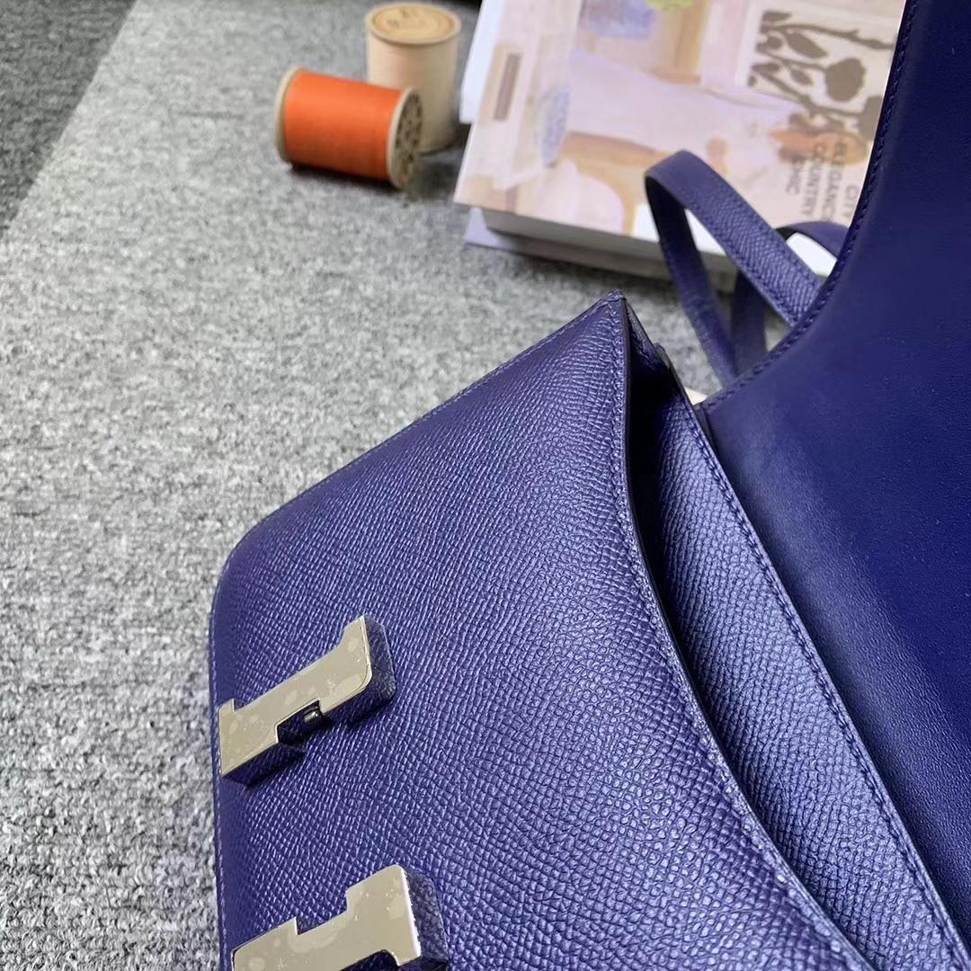Hermès(爱马仕)M3 墨水蓝 原厂御用顶级Epsom 皮 Constance 19 银扣 现货