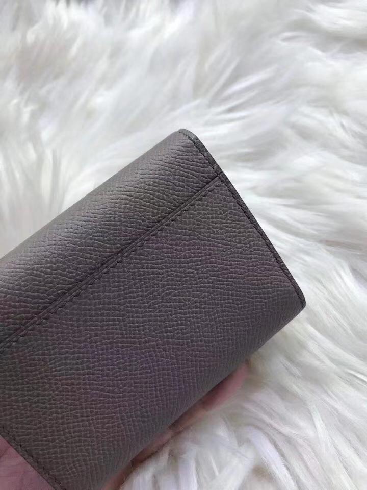 Hermès(爱马仕)新款卡包 clic mini 原装等级进口epsom皮 锡器灰 金银现货