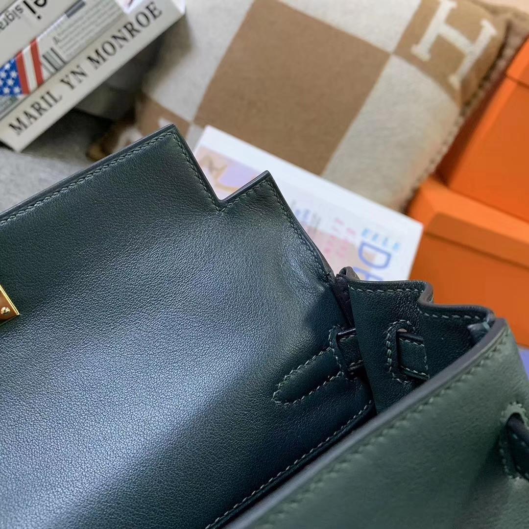 Hermès(爱马仕)6O松柏绿 原厂御用顶级Swift 皮 Kelly 25 内缝 金扣
