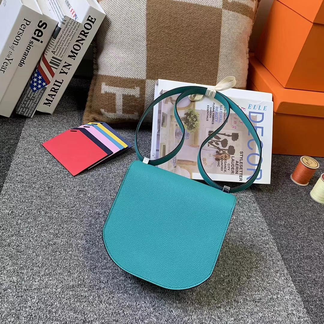 Hermès(爱马仕)7F孔雀蓝 原厂御用顶级Epsom 皮 马赛克 银扣 现货