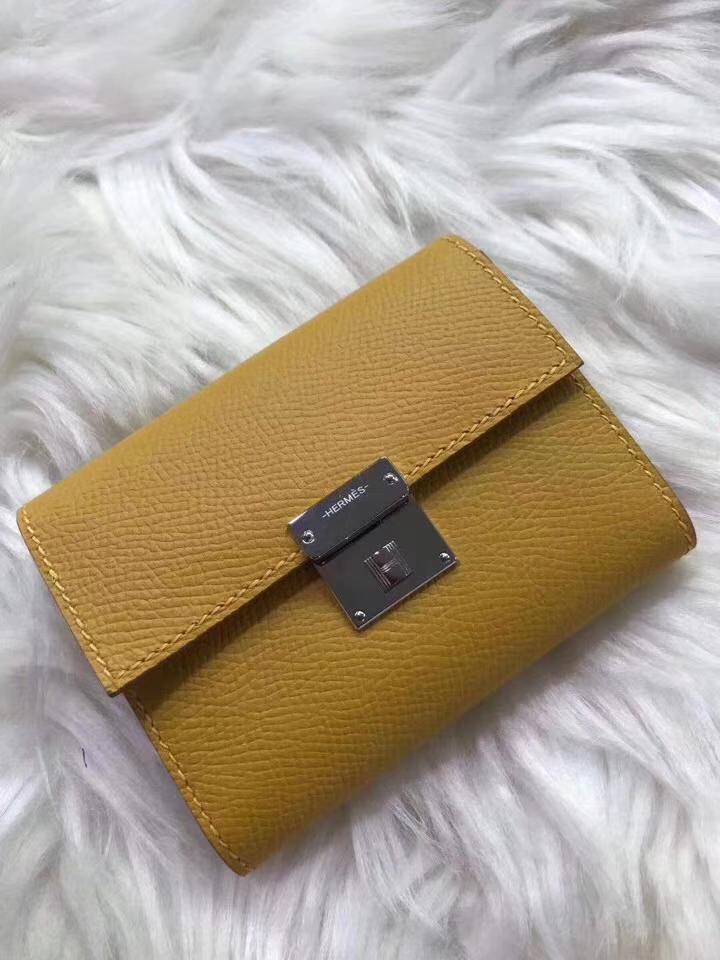 Hermès(爱马仕)新款卡包 clic mini 原装等级进口epsom皮 琥珀黄 金银现货