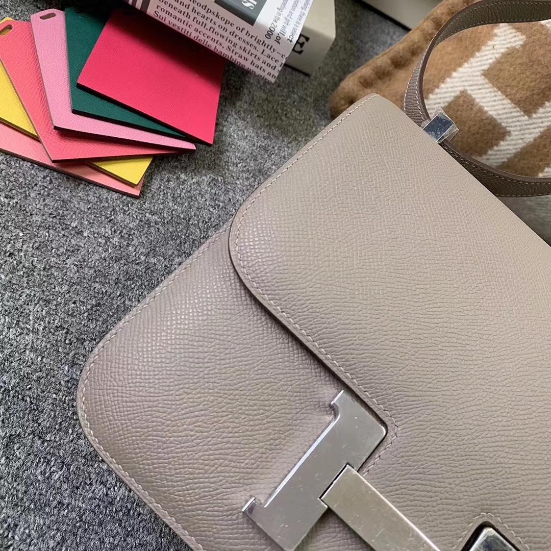 Hermès(爱马仕)沥青灰 原厂御用顶级Epsom皮 Constance 24 银扣 现货