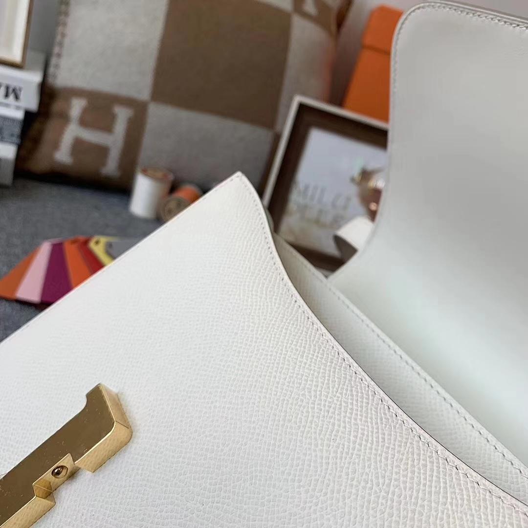 Hermès(爱马仕)奶昔白 原厂御用顶级Epsom 皮 Constance 24 金扣 现货