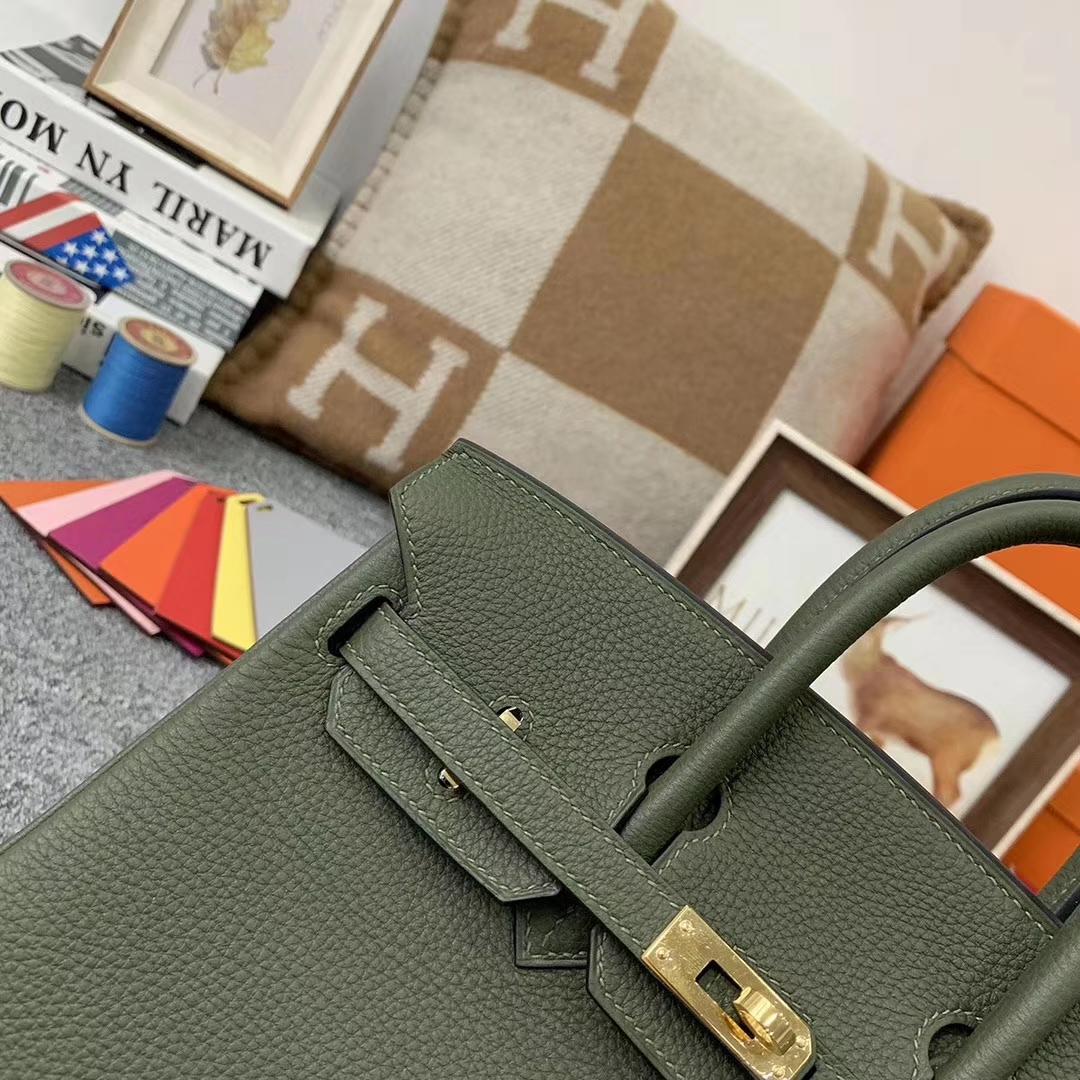 Hermès(爱马仕)V6丛林绿 原厂御用顶级小牛皮 Birkin 25 金扣